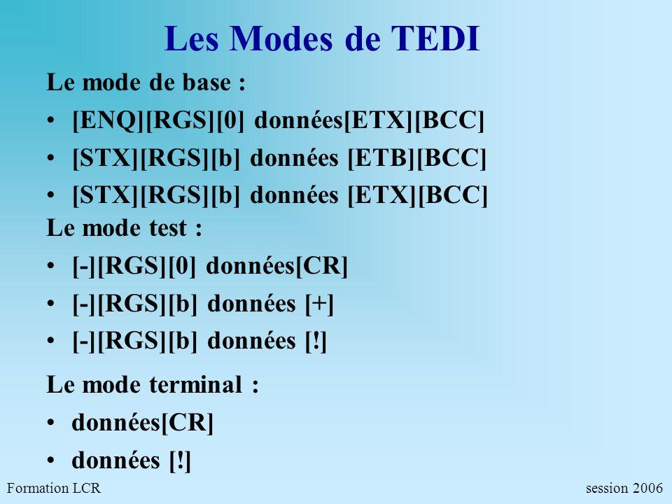 Les Modes de TEDI Le mode de base : [ENQ][RGS][0] données[ETX][BCC]